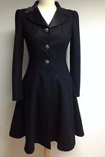 Authentic CHANEL £6,800 ~ STUNNING ~ Black CASHMERE / Wool Dress Frock Coat 36 8