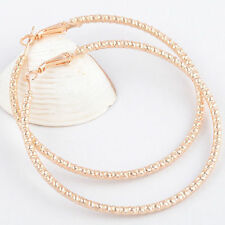 """New 14K Yellow Gold Filled Sparkly Rib Textured Large 2"""" Round Hoop Earrings"""