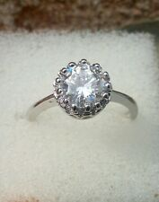 Womens Gothic crown silver plated ring with Swarovski crystal size P1/2