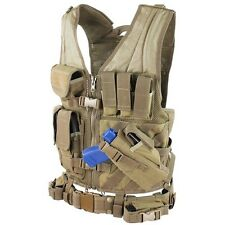 Condor XL/XXL Military Cross Draw Tactical Chest Rig Vest w/Holster Pouch TAN