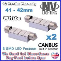 2 x 41 / 42mm NUMBER PLATE INTERIOR LIGHT FESTOON BULB 8 LED Error Free - WHITE