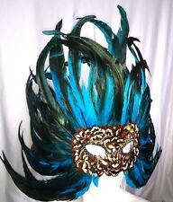 FEATHER MASQUERADE, MARDI GRAS, BIRD MASK.   TURQUOISE  9414