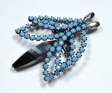Vintage Turquoise Blue Rhinestone and Bead Fly Bug Insect Brooch Pin  JN16907