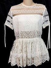Alexis White Juliana Blossom Embroidered Top Flair Bottom Size S NWT $365