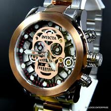 Invicta Skull Collection Skeleton Chronograph Rose Gold 2 Tone 50mm Watch New