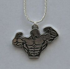 Flexing Bodybuilder Charm 925 Solid Sterling Silver Chain Bodybuilding Muscle