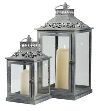 SET 2 Ornate Vintage Grey Washed Metal Pillar Candle Holder Lanterns NEW