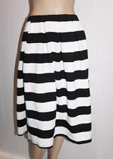VALLEYGIRL Designer Black White Wide Stripe Pleated Skirt Size S BNWT #SU36