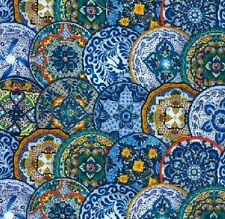 Blue Plate Special by Elizabeth Studios-Fiesta Collection-BTY-Beautiful Blues