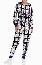 Betty Boop Hooded Non Footed Pajamas Purple Micro Fleece 1-Piece M NWT LAST ONE