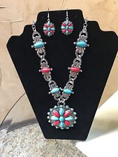 NWT, WESTERN COWGIRL  SQUASH BLOSSOM TURQUOISE, RED & SILVER NECKLACE SET