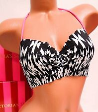 36B VICTORIA'S SECRET Getaway Halter Bikini Top 6XP Black Geo Print - SALE
