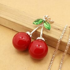 Fashion Gold-plated Crystal Cherry Pendant chain charm long necklace EE581