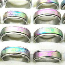 Wholesale 10Pcs Mixed Size Rainbow Double Layer Spin Stainless Steel Rings T13