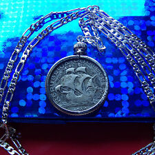 "pre 1950 SILVER ESCUDOS Portuguese SHIP Coin on a 30"" 925 Sterling Silver Chain"