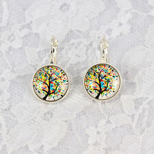 1Pair New Life Tree Photo Glass Cabochon French Leverback Dangle Earring