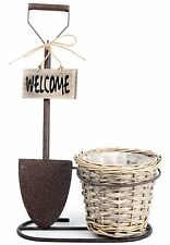 Wicker Plant Pot Holder Metal Garden Spade Flower Planter Welcome Sign