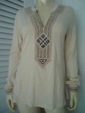LUCKY BRAND Sz S Top Boho Hippie Pullover Knit Tunic Applique Embroidery Studs