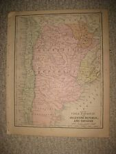 ANTIQUE 1886 CHILE PARAGUAY ARGENTINA URUGUAY SOUTH AMERICA & EUROPE MAP RUSSIA