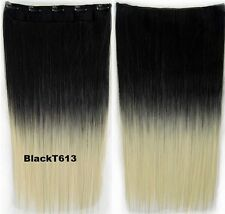 "24"" SYNTHETIC CLIP IN HAIR EXTENSION STRAIGHT COSPLAY HAIR BLACK AND blonde"