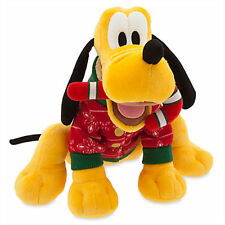 NEW Disney World Store Christmas Pluto in Sweater Holiday Plush Stuffed Toy NWT