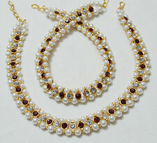 Designer Very Beautiful Gold Tone / Plated Anklet / Payal With Pearl & Stone