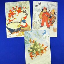 3 Aina Stenberg Christmas Card Postcards - Elf Tomte & Children Swedish Unused