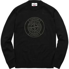 SUPREME x Stone Island Reflective Compass Sweater Black M box logo camp S/S 16