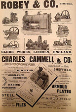 Antique Engineering Print 1896 Charles Cammey Sheffield Robey & Co Lincon Advert