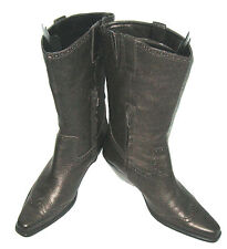COLDWATER CREEK BRONZE LEATHER COWBOY BOOTS PARTIAL ZIPPER SIDES 3 IN HEEL 9.5 M
