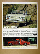 1963 Corvair Monza white convertible & red club coupe photos vintage print Ad