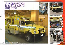 Ambulances Corporation Urgences-Santé Quebec Canada FICHE Pompier FIREFIGHTER