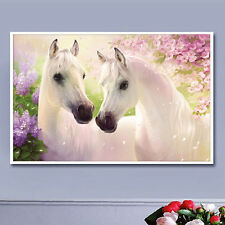 DIY Two Horse 5D Diamond Embroidery Painting Cross Stitch Craft Home Decor