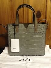 VINCE. Leather Croc Embossed Crossbody~Stone~NWT