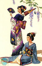 Cross Stitch Kit ~ Gold Collection Asian Ladies in Oriental Kimonos #3898
