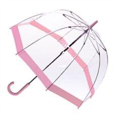 Clifton Queen Royal Dome Birdcage Clear Umbrella Pink Trim Wedding Or Rain