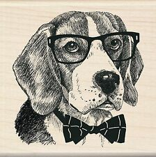 Dog With Glasses Nerdy Dog Wood Mounted Rubber Stamp INKADINKADO 60-01242 NEW