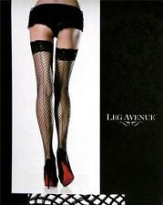 SPANDEX STAY UP LACE TOP BACK SEAM Fishnet INDUSTRIAL NET Stockings  BLACK O/S