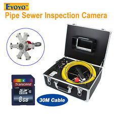 "30M/98ft Snake Waterproof Camera Pipe Pipeline Drain Video Inspection DVR 7"" LCD"