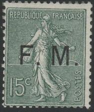 """FRANCE STAMP TIMBRE FRANCHISE MILITAIRE N° 3 """"SEMEUSE 15c VERT OLIVE"""" NEUF xx TB"""