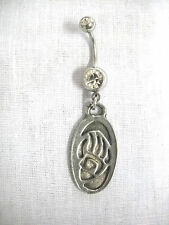 NEW USA CAST PEWTER OVAL SHAPED TRIBAL BEAR CLAW PAW ON CLEAR BELLY BUTTON RING