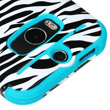 For HTC ONE M8 / ONE 2 - TEAL BLUE ZEBRA Hybrid Hard & Soft Silicone Skin Case