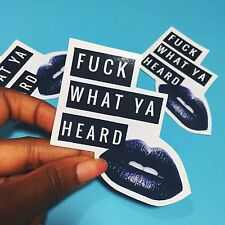 F What Ya Heard! - Small Sassy Black Lip Sticker by Timmery