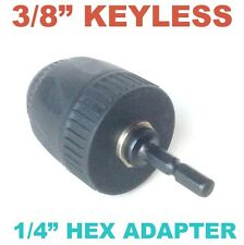 "1 pc Keyless 1/32-3/8"" Cap Drill Chuck with Conversion 1/4"" Hex  Adapter sct-888"