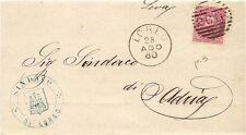 P6172   Rovigo, LOREO, annullo tondo riquadrato 1880