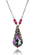 New w/Swarovski Electra Ruby Crystal Baroque Pendant Filigree Necklace