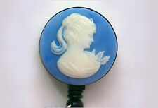 BLUE CAMEO Retractable Badge  Reel / ID Security Card Holder/Key chain ring