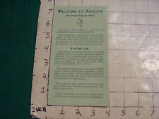 vintage HIGH GRADE travel brochure:  WELCOME TO ARIZONA-AGRICULTURAL INSPECTION