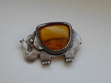 Russian 80's Sterling Silver Amber Brooch Elephant