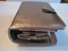SILVER METALLIC LEATHER IPOD COVER CASE SET OF 2 & SPEAKER CASE - NEIMAN MARCUS